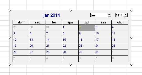Como adicionar um calendário no Excel 2007