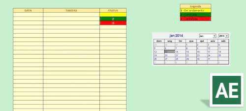 Tabela para controle de tarefas diárias no Excel (n)
