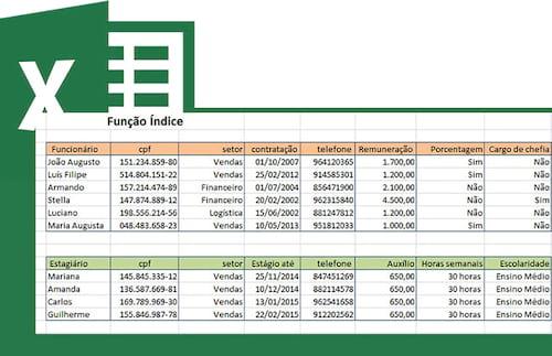 Função =Índice no Excel