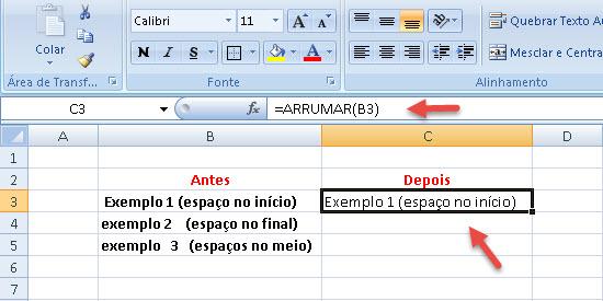 Função =Arrumar no Excel