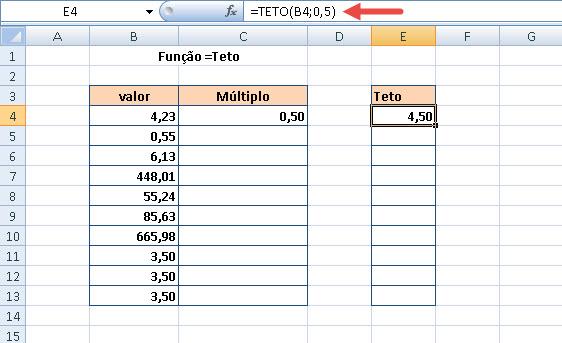 Função =Teto e o arredondamento de números no Excel