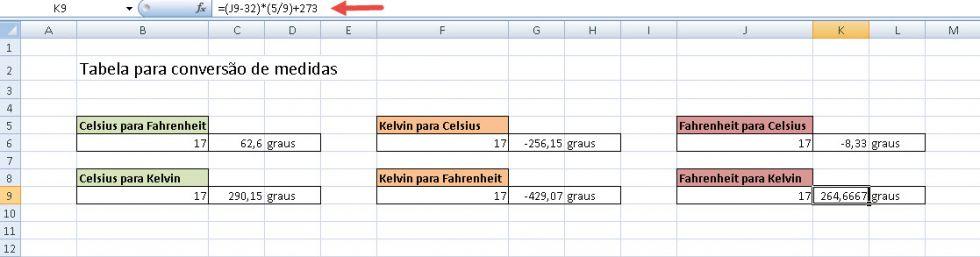 Planilha para conversão de temperaturas no Excel