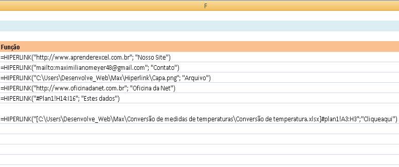 Função =Hiperlink no Excel